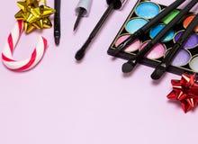 Καλλυντικά Χριστουγέννων makeup Στοκ φωτογραφία με δικαίωμα ελεύθερης χρήσης