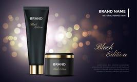 Καλλυντική συσκευασία που διαφημίζει το διανυσματικό μαύρο χρυσό υπόβαθρο κρέμας προτύπων skincare Στοκ εικόνα με δικαίωμα ελεύθερης χρήσης