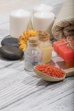 Καλλυντικό λουτρών SPA υπόβαθρο επεξεργασίας ομορφιάς σαπουνιών Στοκ Εικόνα