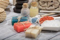Καλλυντικό λουτρών SPA υπόβαθρο επεξεργασίας ομορφιάς σαπουνιών Στοκ Εικόνες