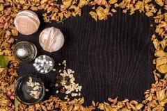 Καλλυντικό λουτρών SPA Aromatherapy με τη φυσικές μάσκα και τη βόμβα Χαλάρωση υγιεινής για το σώμα Στοκ εικόνες με δικαίωμα ελεύθερης χρήσης