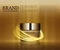 Καλλυντικό πρότυπο αγγελιών, πρότυπο μπουκαλιών σταγονίδιων στο εκθαμβωτικό υπόβαθρο Χρυσά στοιχεία φύλλων αλουμινίου και φυσαλίδ Στοκ Εικόνα