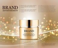 Καλλυντικό πρότυπο αγγελιών, πρότυπο μπουκαλιών σταγονίδιων στο εκθαμβωτικό υπόβαθρο Χρυσά στοιχεία φύλλων αλουμινίου και φυσαλίδ ελεύθερη απεικόνιση δικαιώματος