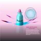 Καλλυντικό πρότυπο αγγελιών, ρεαλιστικό καλλυντικό μπουκάλι Αυξήθηκε μπλε κυρία parfume τρισδιάστατη απεικόνιση Στοκ Εικόνες