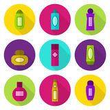 Καλλυντικό σύνολο εικονιδίων μπουκαλιών διανυσματικό Στοκ Φωτογραφίες