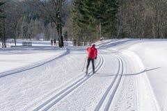 Καλλωπισμένα ίχνη σκι για διαγώνιο να κάνει σκι χωρών Στοκ Εικόνες