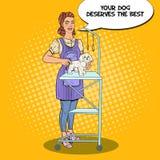 καλλωπισμός σκυλιών Επαγγελματικό Groomer με το ψαλίδι Λαϊκή απεικόνιση τέχνης διανυσματική απεικόνιση