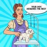καλλωπισμός σκυλιών Λαϊκή γυναίκα Groomer τέχνης με το ψαλίδι απεικόνιση αποθεμάτων