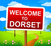 Καλωσορίζω στο Dorset παρουσιάζει Ηνωμένο Βασίλειο και υπαίθριος Στοκ Εικόνα