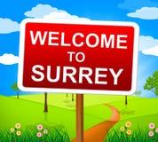 Καλωσορίζω στο Surrey δείχνει το Ηνωμένο Βασίλειο και την Αγγλία Στοκ Φωτογραφίες
