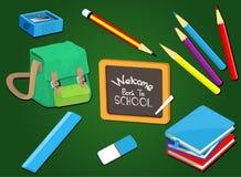 Καλωσορίστε πίσω στο σχολείο με τις σχολικές προμήθειες καθορισμένες, διανυσματική απεικόνιση Στοκ Εικόνα