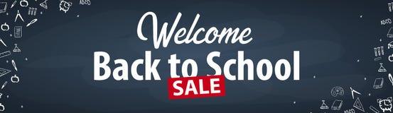 Καλωσορίστε πίσω στο σχολικό έμβλημα με τα διαφορετικά σχολικά αντικείμενα Εμβλήματα σχολικής πώλησης και καλύτερες προσφορές Στοκ Εικόνες
