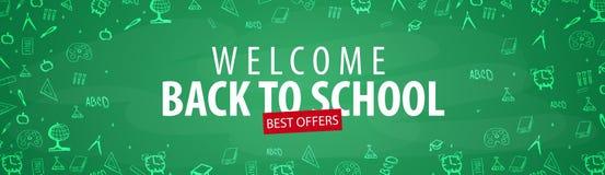 Καλωσορίστε πίσω στο σχολικό έμβλημα με τα διαφορετικά σχολικά αντικείμενα Εμβλήματα σχολικής πώλησης και καλύτερες προσφορές Στοκ Φωτογραφίες