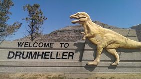 Καλωσορίστε σε Drumheller στοκ φωτογραφία