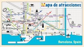 Καλωσορίστε στη Βαρκελώνη Έλξη στο χάρτη Στοκ εικόνα με δικαίωμα ελεύθερης χρήσης