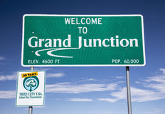 Καλωσορίστε στο Γκραντ Τζάνκσον, Κολοράντο, ΗΠΑ Στοκ Εικόνες
