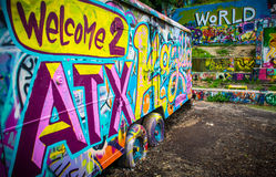 Καλωσορίστε στο κεφάλαιο παγκόσμιας μουσικής του Ώστιν Τέξας ΗΠΑ στοκ εικόνα