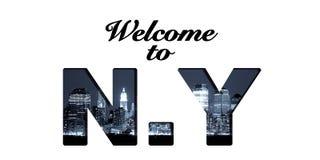 Καλωσορίστε στο κολάζ κειμένων της Νέας Υόρκης Στοκ φωτογραφία με δικαίωμα ελεύθερης χρήσης