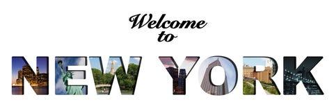 Καλωσορίστε στο κολάζ κειμένων της Νέας Υόρκης Στοκ Φωτογραφίες