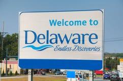 Καλωσορίστε στο οδικό σημάδι του Ντελαγουέρ στοκ φωτογραφία με δικαίωμα ελεύθερης χρήσης