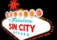 Καλωσορίστε στο Sin City Λας Βέγκας Στοκ Εικόνες