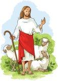 καλός ποιμένας του Ιησού Χριστιανικό υπόβαθρο Πάσχας Στοκ Εικόνα