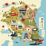 Καλός χάρτης ταξιδιού της Ιαπωνίας διανυσματική απεικόνιση