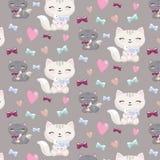 Καλό άνευ ραφής σχέδιο κινούμενων σχεδίων με τις γάτες, καρδιές, κόκκαλα Στοκ Εικόνες