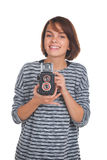 Καλό έφηβη με την αναδρομική κάμερα φωτογραφιών Στοκ εικόνα με δικαίωμα ελεύθερης χρήσης