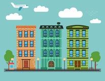 Καλό ζωηρόχρωμο στο κέντρο της πόλης τοπίο πόλεων με διάφορα townhouses, Στοκ εικόνες με δικαίωμα ελεύθερης χρήσης
