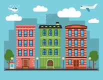Καλό ζωηρόχρωμο στο κέντρο της πόλης τοπίο πόλεων με διάφορα townhouses, Στοκ φωτογραφίες με δικαίωμα ελεύθερης χρήσης