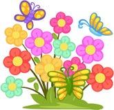 Καλό λουλούδι με τις πεταλούδες απεικόνιση αποθεμάτων