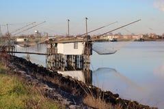 Καλύβες ψαράδων στις λιμνοθάλασσες Στοκ εικόνα με δικαίωμα ελεύθερης χρήσης