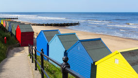 Καλύβες Norfolk Αγγλία παραλιών Mundesley Στοκ Εικόνες