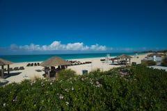 Καλύβες Tiki στην παραλία Bimini στοκ εικόνες