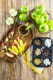 Καλύμματα μήλων καραμέλας Στοκ Φωτογραφίες