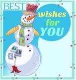 Καλύτερες ευχές χιονανθρώπων για σας απεικόνιση κινούμενων σχεδίων Στοκ φωτογραφία με δικαίωμα ελεύθερης χρήσης