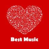 Καλύτερη αφίσα μουσικής με τις μουσικές νότες μορφής καρδιών απεικόνιση αποθεμάτων