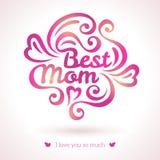 Καλύτερη γράφοντας ευχετήρια κάρτα Mom Στοκ φωτογραφία με δικαίωμα ελεύθερης χρήσης