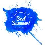 Καλύτερη θερινή εγγραφή στην μπλε σταγόνα watercolor Στοκ φωτογραφία με δικαίωμα ελεύθερης χρήσης