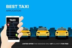 Καλύτερη κινητή εφαρμογή ταξί Διαφημιστική διανυσματική απεικόνιση στοκ εικόνες με δικαίωμα ελεύθερης χρήσης