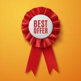 Καλύτερη προσφορά, ρεαλιστική κόκκινη κορδέλλα βραβείων υφάσματος Στοκ Εικόνα