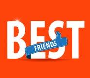 Καλύτεροι φίλοι, τυπογραφία απεικόνισης στο φωτεινό υπόβαθρο Στοκ Εικόνες