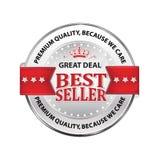 Καλύτερος πωλητής, εξαιρετική ποιότητα, επειδή φροντίζουμε - πολυτελές εικονίδιο Στοκ εικόνες με δικαίωμα ελεύθερης χρήσης