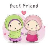Καλύτερος φίλος κινούμενων σχεδίων δύο των χαριτωμένων μουσουλμανικών κοριτσιών ελεύθερη απεικόνιση δικαιώματος