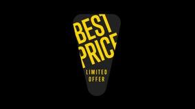 Καλύτερο έμβλημα τιμών με την ειδική ετικέττα αγορών προσφοράς απόθεμα βίντεο