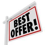 Καλύτερο σπίτι σημαδιών ακίνητων περιουσιών προσφοράς άσπρο για την προσφορά πώλησης Στοκ Εικόνα