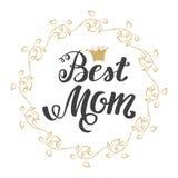 καλύτερο mom Ημέρα της μητέρας ευχετήριων καρτών Εγγραφή χεριών, χαιρετώντας επιγραφή Στοκ Φωτογραφία