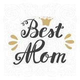 καλύτερο mom Ημέρα της μητέρας ευχετήριων καρτών Εγγραφή χεριών Στοκ Φωτογραφίες