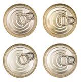 Καλύψτε τα δοχεία κασσίτερου Η τοπ άποψη του α μπορεί τρόφιμα που απομονώνονται Το καπάκι ενός δοχείου κασσίτερου Στοκ Εικόνα